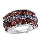 Mozambique Garnet, Tanzanite Platinum Over Sterling Silver Ring (Size 5.0) TGW 5.46 cts.