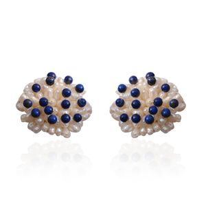 Tucson Jewels Lapis Lazuli, Freshwater Pearl Silvertone Stud Earrings TGW 1.45 cts.
