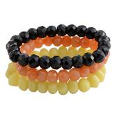 Tucson Jewels Yellow Quartz, Carnelian, Black Onyx Set of 3 Bracelet (Stretchable) TGW 420.50 cts.
