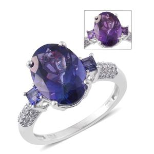 Lusaka Amethyst, Cambodian Zircon Platinum Over Sterling Silver Ring (Size 10.0) TGW 6.130 cts.