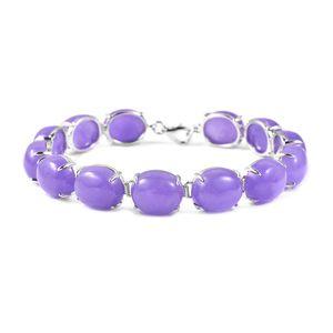 TLV Burmese Purple Jade Sterling Silver Bracelet (7.25 In) TGW 81.65 cts.