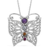 Amethyst, Multi Gemstone Stainless Steel Butterfly Pendant With Chain (20 in) TGW 1.02 cts.