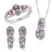XIA Kunzite, Madagascar Pink Sapphire Platinum Over Sterling Silver Earrings, Ring (Size 8) and Pendant With Chain (20 in) TGW 4.750 cts.