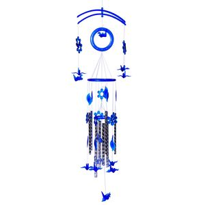Vivid Blue Chroma Silvertone Birds Wind Chime (33.5x9 In)
