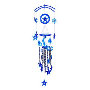 Vivid Blue Chroma Silvertone Stars Wind Chime (33.5x9 In)