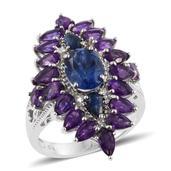 Brazilian Azul Quartz, Amethyst, Kanchanaburi Blue Sapphire Platinum Over Sterling Silver Elongated Ring (Size 8.0) TGW 6.580 cts.