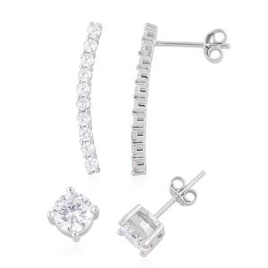 Simulated White Diamond Sterling Silver Set of 2 Earrings TGW 3.70 cts.