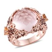 Galilea Rose Quartz, Brazilian Citrine, Mozambique Garnet 14K RG Over Sterling Silver Butterfly Ring (Size 7.0) TGW 18.04 cts.