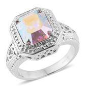 Stainless Steel Ring (Size 5.0) Made with SWAROVSKI Aurora Borealis Crystal TGW 5.40 cts.