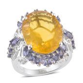 Canary Fluorite, Catalina Iolite Platinum Over Sterling Silver Ring (Size 7.0) TGW 22.47 cts.