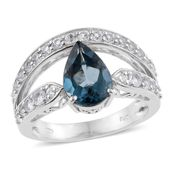 Tony's Collector Show London Blue Topaz, White Topaz Platinum Over Sterling Silver Ring (Size 6.0) TGW 4.030 cts.