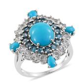 Arizona Sleeping Beauty Turquoise, White Topaz, London Blue Topaz Platinum Over Sterling Silver Ring (Size 6.0) TGW 7.37 cts.