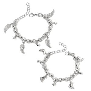 Set of 2 Stainless Steel Footprint and Wing Charm Bracelets (7.50 In)