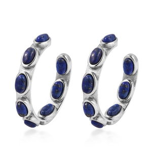 Lapis Lazuli Stainless Steel Inside Out Half Hoop Earrings TGW 10.00 cts.
