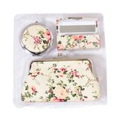 Cream Floral Print Faux Leather Coin Wallet, Lipstick Case and Compact Mirror TGW 10.00 cts.