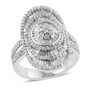 Diamond Platinum Over Sterling Silver Elongated Ring (Size 9.0) TDiaWt 2.00 cts, TGW 2.000 cts.