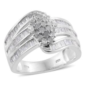 Diamond Platinum Over Sterling Silver Ring (Size 8.0) TDiaWt 1.50 cts, TGW 1.50 cts.