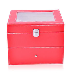 2-Tier Red Coral Faux Leather Watch Box with Drawer-Hold 16 (8x8x8 in)