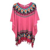 Pink Paisley Print Rayon Poncho with Mandala Gajah Motif Work