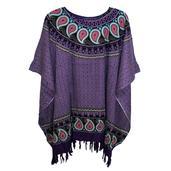 Purple Printed Rayon Poncho