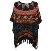 Multi Color Printed Rayon Poncho