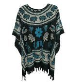 Black and Blue Animals Pattern 100% Rayon Poncho with Fringe
