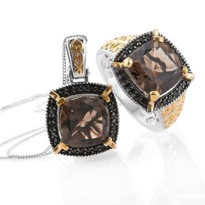 Delma Brazilian Smoky Quartz, Thai Black Spinel 14K YG and Platinum Over Sterling Silver Ring (Size 6) and Pendant With Chain (20 in) TGW 14.16 cts.