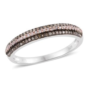 Natural Pink and Champagne Diamond Black Rhodium, 14K RG and Platinum Over Sterling Silver Band Ring (Size 6.0) TDiaWt 0.34 cts, TGW 0.34 cts.
