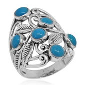 Bali Legacy Collection Arizona Sleeping Beauty Turquoise Sterling Silver Openwork Ring (Size 8.0) TGW 2.44 cts.