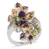 Multi Gemstone 14K YG and Platinum Over Sterling Silver Floral Elongated Ring (Size 5.0) TGW 4.64 cts.