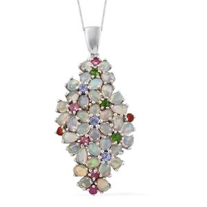 Ethiopian Welo Opal, Multi Gemstone Platinum Over Sterling Silver Floral Bundle Pendant With Chain (20 in) TGW 6.02 cts.