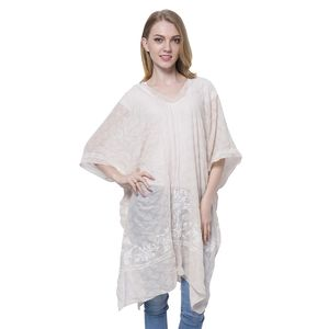 Cream with White Floral Embroidery 80% Polyester and 20% Viscose Poncho (Free Size)