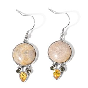 Fossil Coral, Simulated Yellow and White Diamond Silvertone & Stainless Steel Dangle Earrings TGW 2.50 Cts.