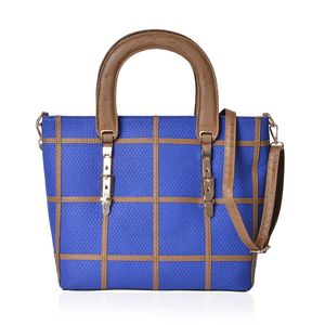 Blue and Light Brown Box Pattern Faux Leather Tote Bag with Foot Base and Removable Strap (14x5.5x12 in)