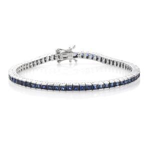 Kanchanaburi Blue Sapphire Platinum Over Sterling Silver Bracelet (7.50 In) TGW 8.16 cts.
