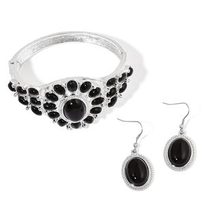 Black Onyx Silvertone & Stainless Steel Bangle (7 in) and Earrings TGW 65.00 cts.