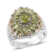 Hebei Peridot 14K YG and Platinum Over Sterling Silver Ring (Size 6.0) TGW 3.95 cts.