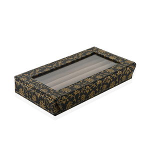 Eco Leatherette Black Floral Printed 50 Slot Ring Box