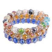 Multi Color Glass Silvertone Set of 3 Bracelets (Stretchable)