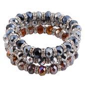 Bronze and Gray Glass Silvertone Set of 3 Bracelets (Stretchable)