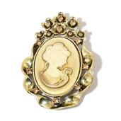 Cameo, Champagne Color Austrian Crystal Goldtone Brooch TGW 34.000 Cts.