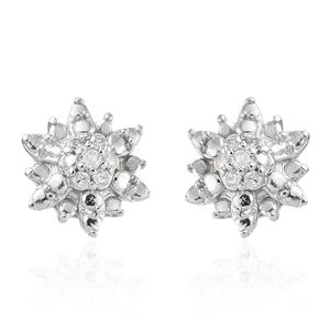 Diamond Sterling Silver Stud Earrings TDiaWt 0.06 cts, TGW 0.06 cts.