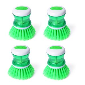 Green Resin Set of 4 Soap Brush (3.5x3.2 in)