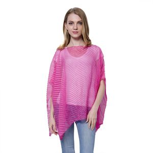 Pink 100% Polyester Pleated Poncho (Free Size)