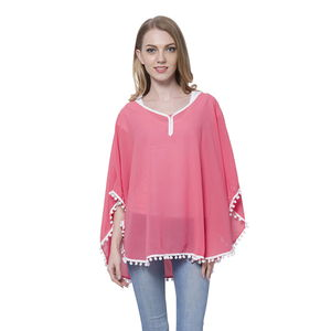 Coral 100% Polyester Poncho or Blouse with Pom Pom Trim (Free Size)
