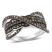 Champagne Diamond Platinum Over Sterling Silver Criss Cross Ring (Size 7.0) TDiaWt 1.01 cts, TGW 1.01 cts.