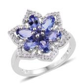 Premium AAA Tanzanite, Cambodian Zircon Platinum Over Sterling Silver Flower Ring (Size 6.0) TGW 3.22 cts.