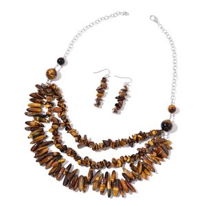 South African Tigers Eye Chips Stainless Steel Earrings and Necklace (18 in) TGW 527.70 cts.
