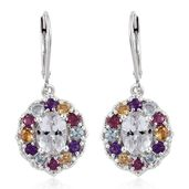 XIA Kunzite, Multi Gemstone Platinum Over Sterling Silver Lever Back Earrings TGW 5.37 cts.