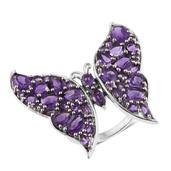 Lusaka Amethyst Platinum Over Sterling Silver Butterfly Ring (Size 5.0) TGW 7.96 cts.
